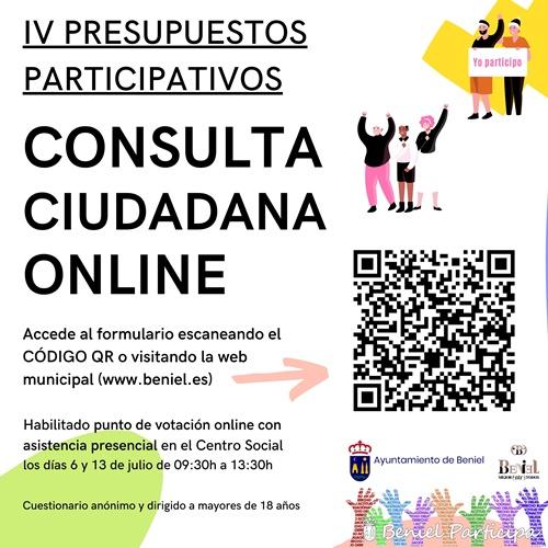 Abierto el plazo de votación de la Consulta Ciudadana Online, en el marco de los IV Presupuestos Participativos