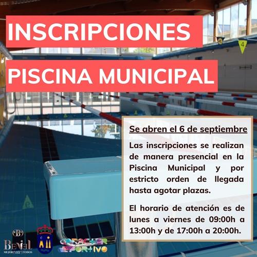 La Piscina Municipal abre el periodo de inscripciones el 6 de septiembre
